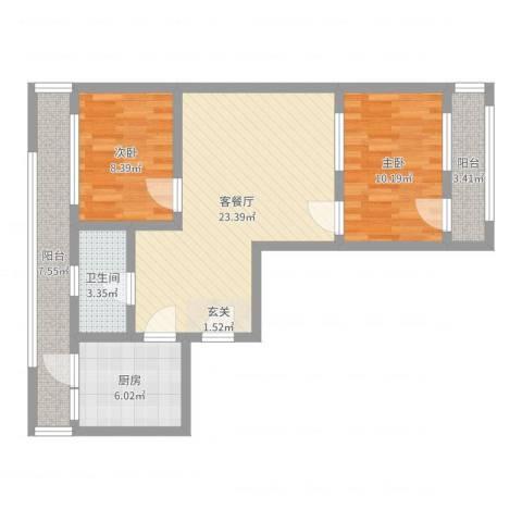 华宁北里2室2厅1卫1厨78.00㎡户型图