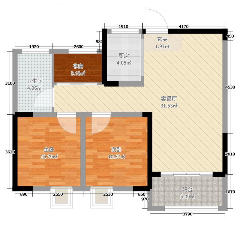 帝景湾88.00㎡乐天户型3室3厅1卫1厨