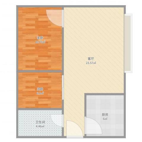 富华家园5-1-13092室1厅1卫1厨64.00㎡户型图