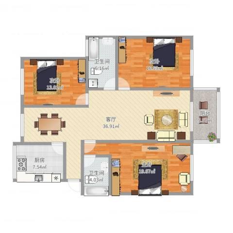 解放新村3室1厅2卫1厨137.00㎡户型图