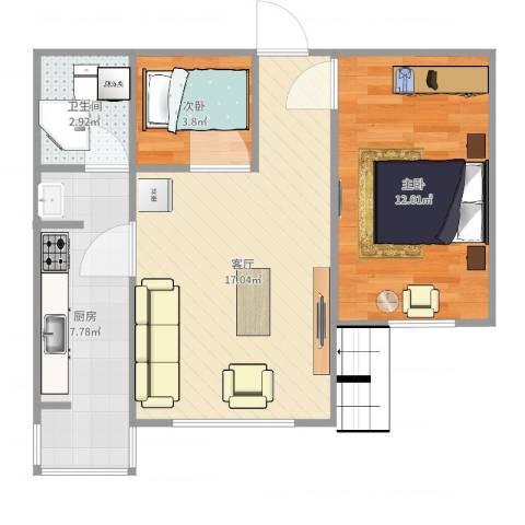福华庄园2室1厅1卫1厨54.00㎡户型图