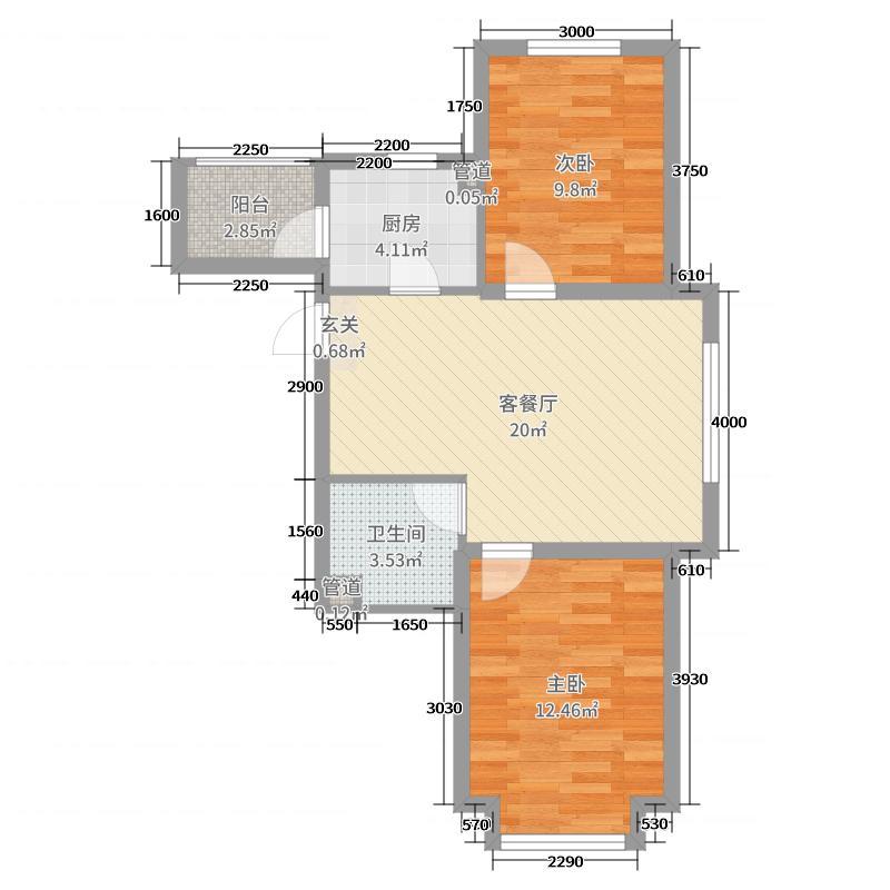 宏发・石榴66.00㎡多层B户型2室2厅1卫1厨