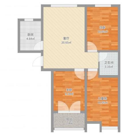海德花园3室1厅1卫1厨78.00㎡户型图