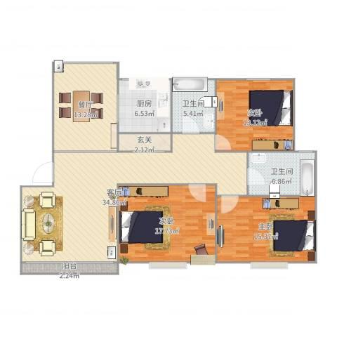 新舒苑3室2厅2卫1厨147.00㎡户型图