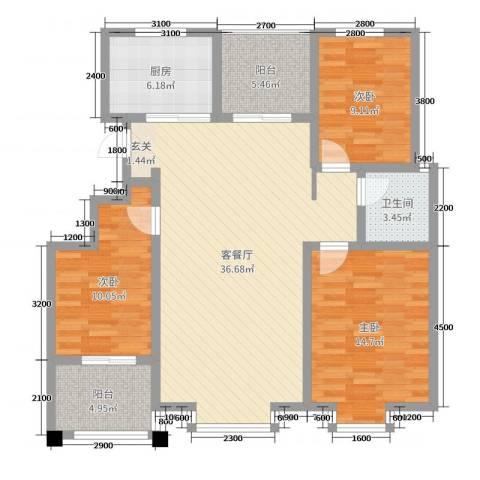 豪门又一城3室2厅1卫1厨128.00㎡户型图