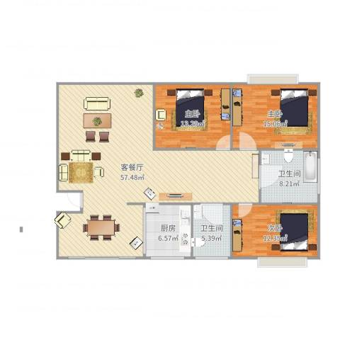 新舒苑3室2厅2卫1厨148.00㎡户型图