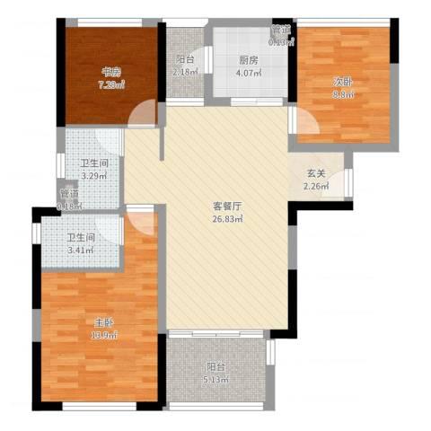 万科金域华府二期3室2厅2卫1厨75.21㎡户型图