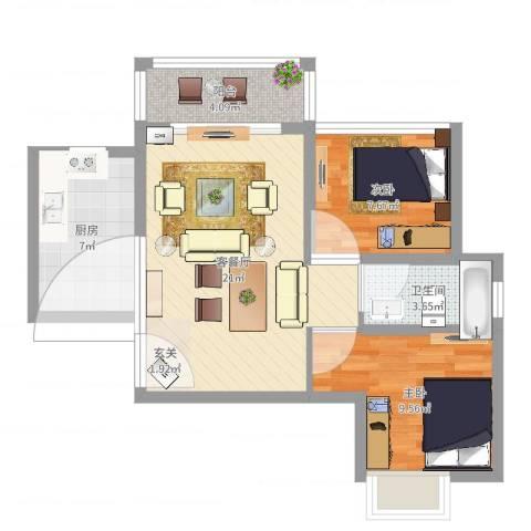 珠海港城花园2室2厅1卫1厨66.00㎡户型图