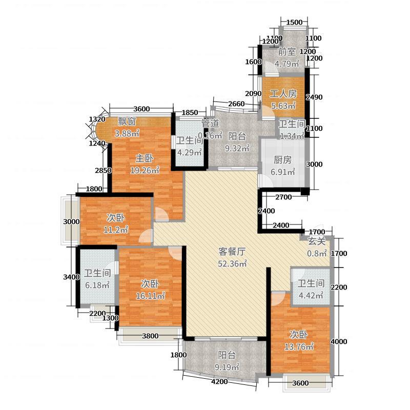 雅居乐曼克顿山205.00㎡2座01单元/3座02单元户型5室5厅3卫1厨