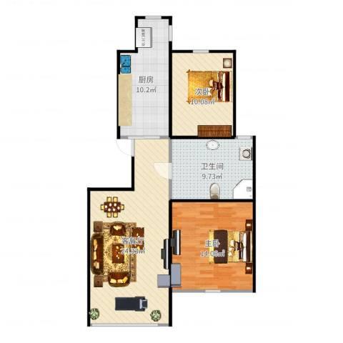 天一绿海2室2厅1卫1厨86.00㎡户型图