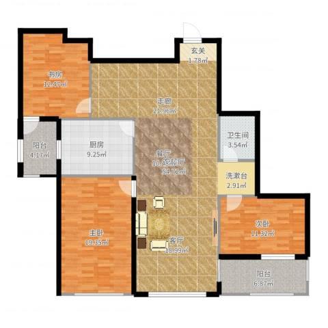 东方新天地花园3室2厅1卫1厨152.00㎡户型图