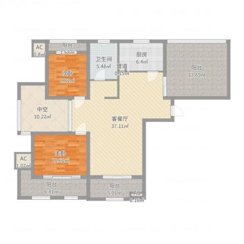 华邦光明世家2室2厅1卫1厨141.00㎡户型图