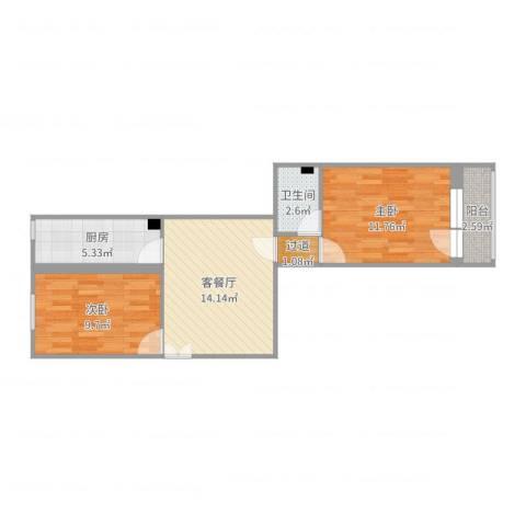 和平里七区2室2厅2卫1厨59.00㎡户型图