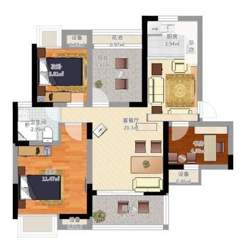 瑞泽源一里洋房3室2厅1卫1厨94.00㎡户型图