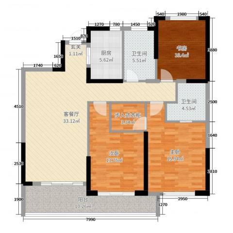 万泰时代城3室2厅2卫1厨129.00㎡户型图