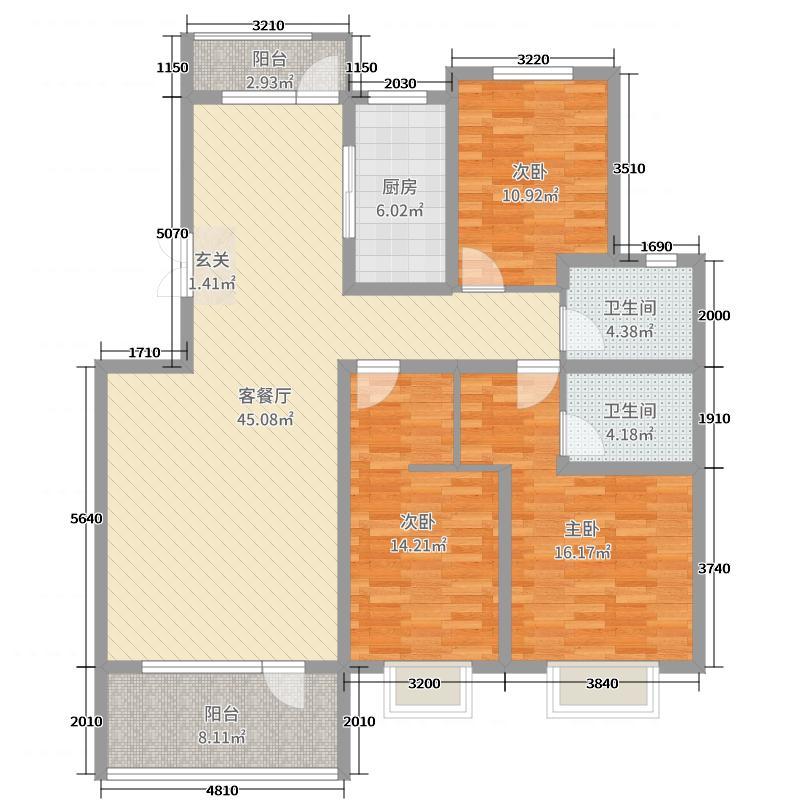 外滩龙庭帝景140.00㎡7号楼J户型3室3厅2卫1厨