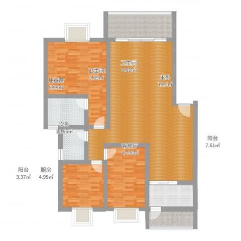 锑都家园3室2厅2卫1厨139.00㎡户型图