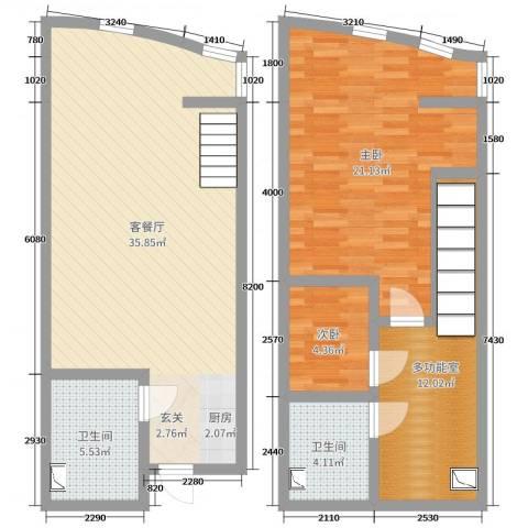 洱海国际生态城2室2厅2卫0厨83.00㎡户型图