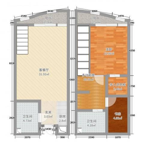 洱海国际生态城2室2厅2卫0厨77.00㎡户型图
