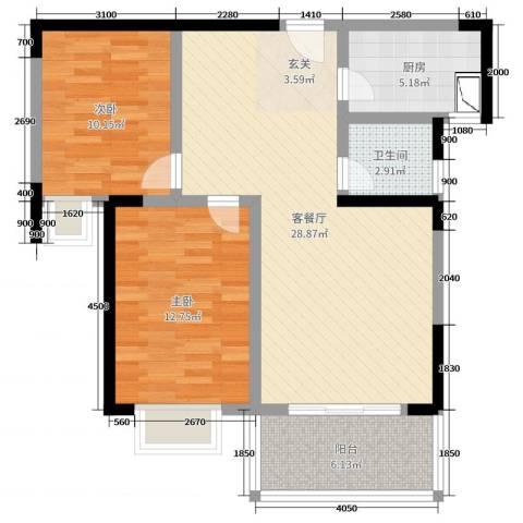 新都万象城2室2厅1卫1厨84.00㎡户型图
