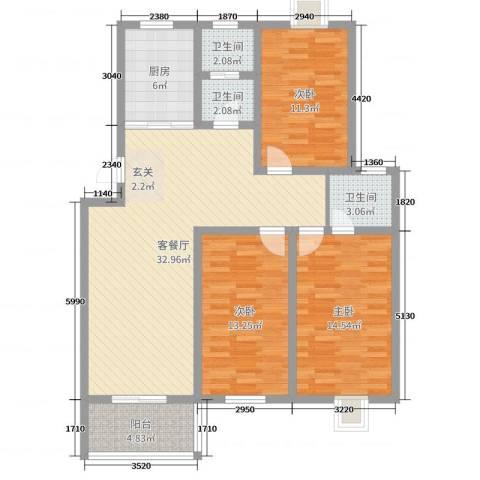 祥和至尊3室2厅3卫1厨113.00㎡户型图