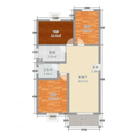 祥和至尊3室2厅1卫1厨102.00㎡户型图