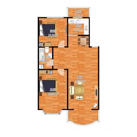 浅草绿阁2室1厅1卫2厨108.00㎡户型图