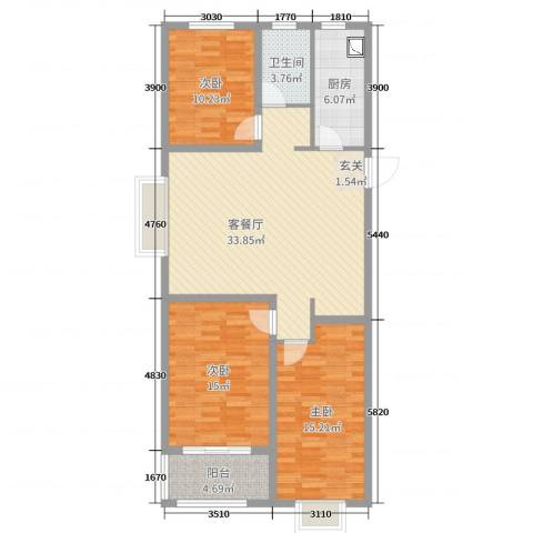 安泰・未来城3室2厅1卫1厨111.00㎡户型图