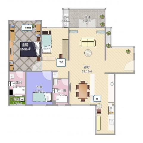 建大领秀城2室1厅3卫1厨116.00㎡户型图