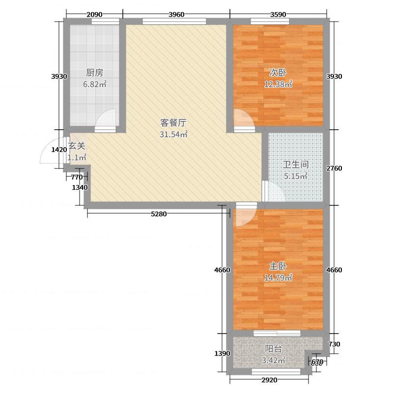 东方太阳城92.67㎡6期时光里13#楼户型2室2厅2卫1厨