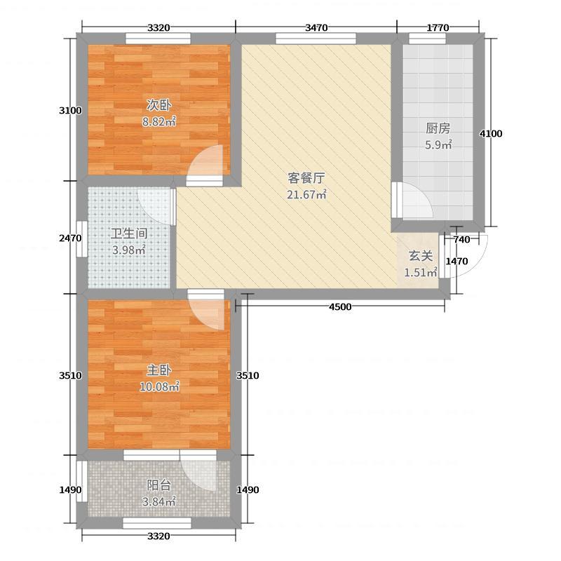 淄博洪沟小区79.17㎡户型2室2厅1卫1厨