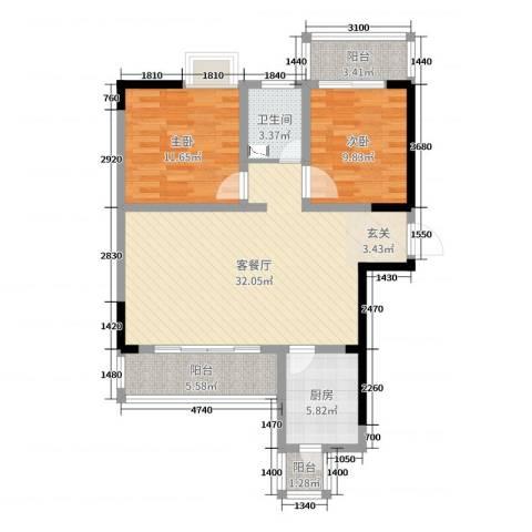 瑞凯景城苑2室2厅1卫1厨92.00㎡户型图