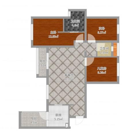 合能璞丽3室2厅2卫1厨92.00㎡户型图