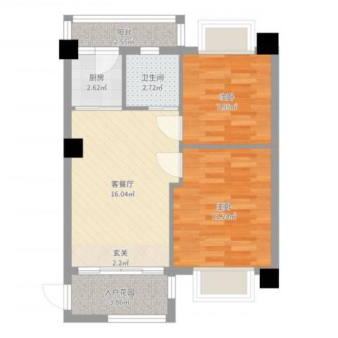 金色阳光雅居2室2厅1卫1厨59.00㎡户型图