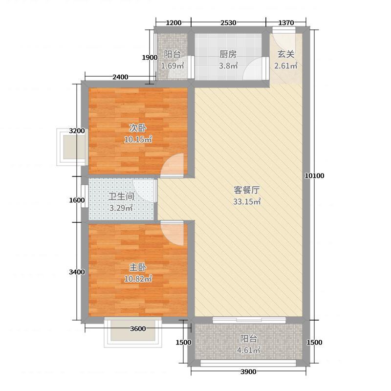 星海名城二期88.38㎡24#楼1、2单元2、3号户型2室2厅1卫1厨