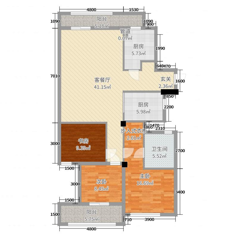 绿城西子田园牧歌140.00㎡户型3室3厅2卫1厨