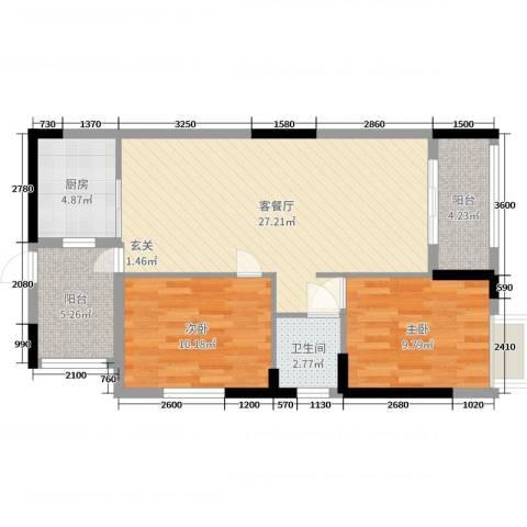 景泰花园2室2厅1卫1厨64.31㎡户型图