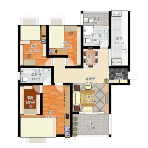 春天花园4室2厅2卫1厨127.00㎡户型图