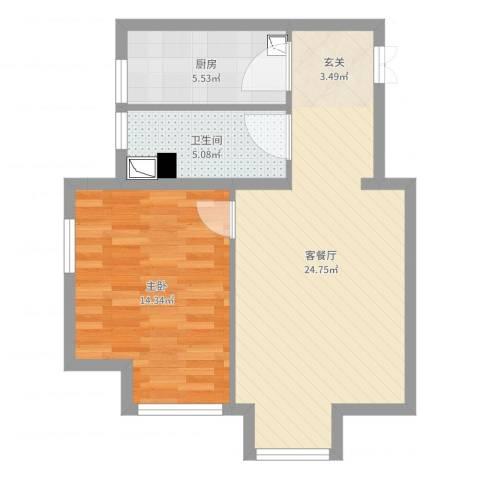 K2・京南狮子城1室2厅1卫1厨62.00㎡户型图