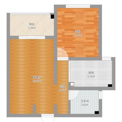 中科苑1室2厅1卫1厨61.00㎡户型图