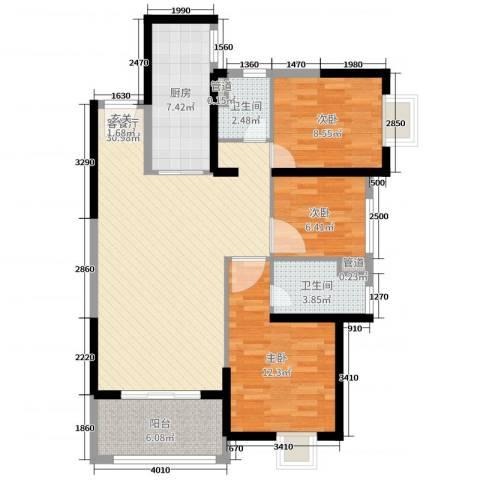 海伦春天3室2厅2卫1厨98.00㎡户型图