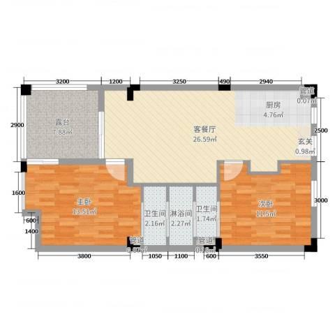 龙湾・雨林谷2室2厅2卫0厨65.98㎡户型图