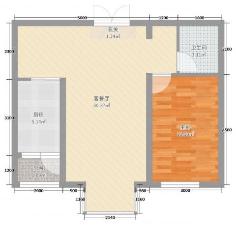 宏润翠湖天地1室2厅1卫1厨78.00㎡户型图
