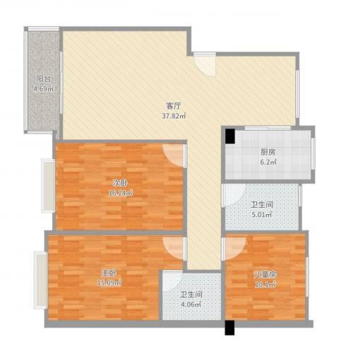 盛世钱塘3室1厅2卫1厨124.00㎡户型图