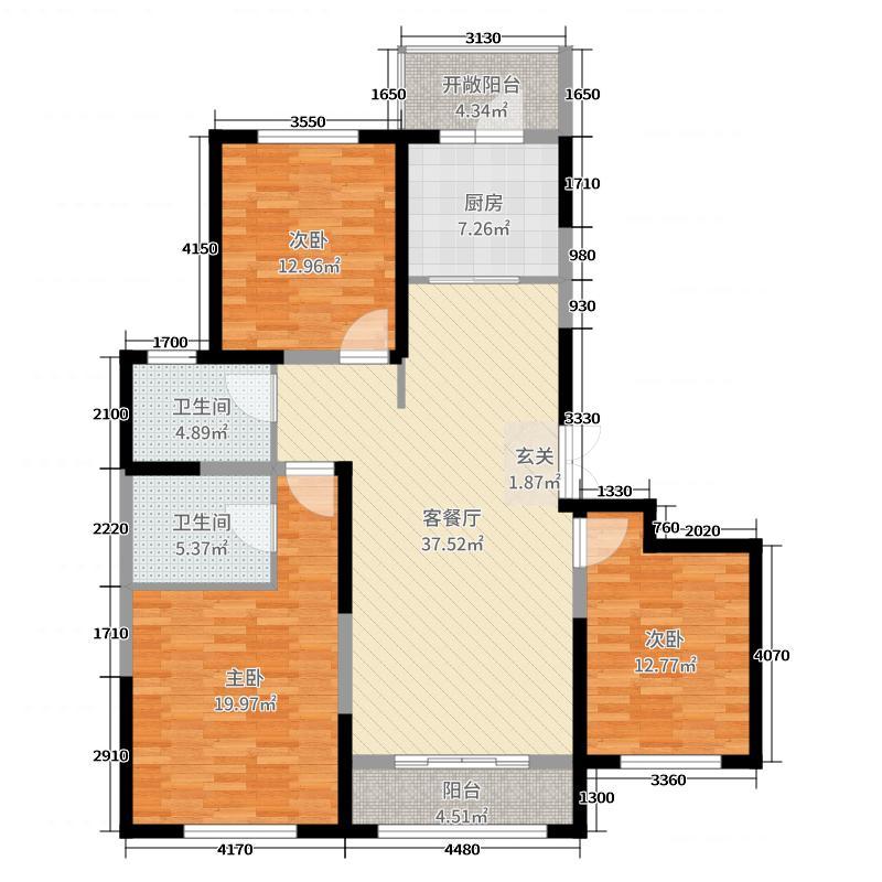 恒大学庭137.00㎡306#楼标准层M1\'户型3室3厅2卫1厨