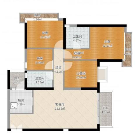天韵瑚璟花园1室2厅2卫1厨121.00㎡户型图