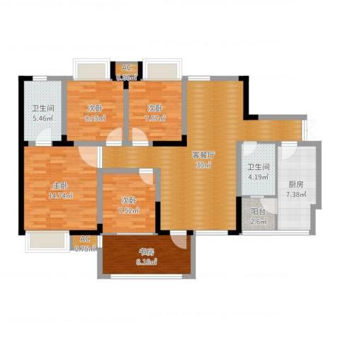 森望滟澜湖5室2厅2卫1厨122.00㎡户型图