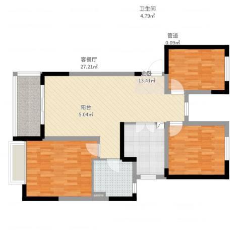 常熟新世纪花苑3室2厅1卫1厨108.00㎡户型图
