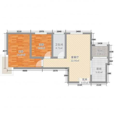 君河湾2室2厅1卫1厨74.00㎡户型图