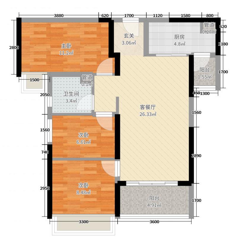 海伦堡・爱ME城市93.00㎡40栋02户型3室3厅1卫1厨
